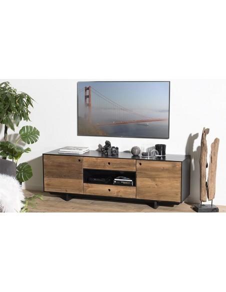 Meuble tv en pin recyclé