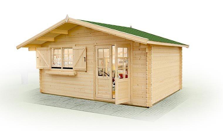 Grand chalet en bois couvert pour jardin avec double for Jardin couvert