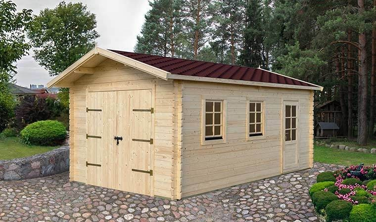 garage prfrabriqu en bois massif avec bardeau bitumeux 20 m2. Black Bedroom Furniture Sets. Home Design Ideas