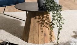 Table d'appoint ronde noire et bois