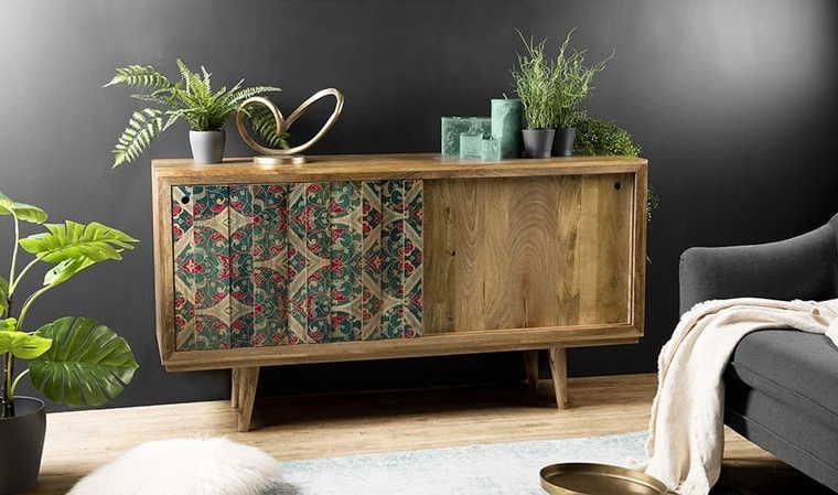Buffet à motifs en bois
