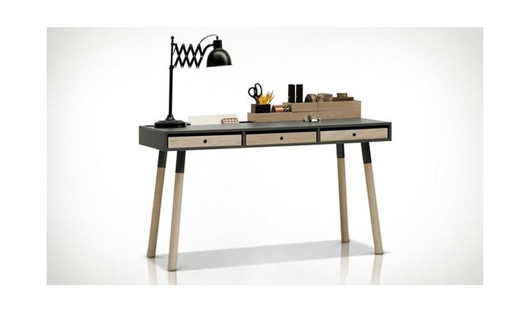 bureau design gris graphite en bois avec tiroirs lori vox. Black Bedroom Furniture Sets. Home Design Ideas