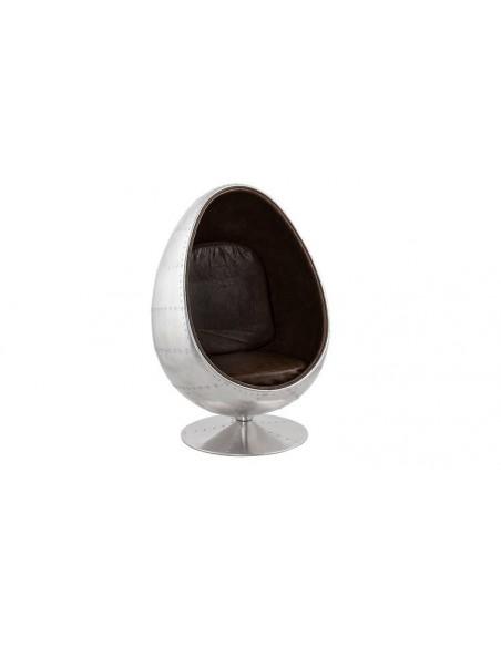 Fauteuil design oeuf metal et simili cuir marron