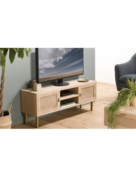 meuble tv toile de jute