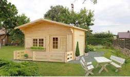 Chalet de jardin en bois avec terrasse et mezzanine