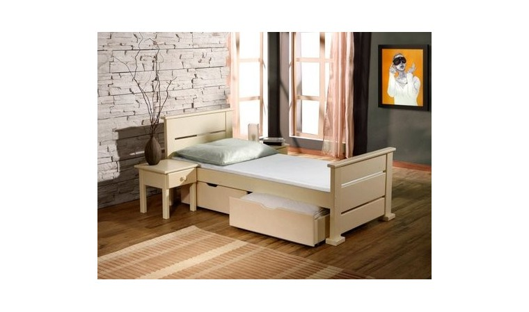 lit enfant bois massif avec 2 tiroirs sur roulettes et sommier inclu. Black Bedroom Furniture Sets. Home Design Ideas