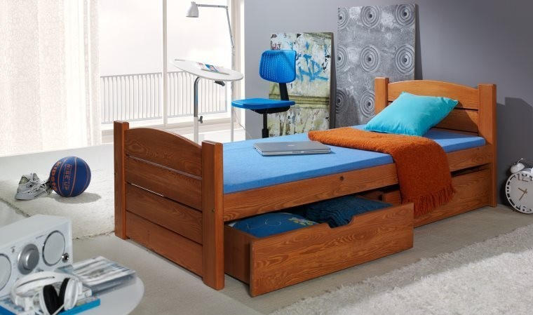 lit enfant avec 2 tiroirs en bois massif avec sommier. Black Bedroom Furniture Sets. Home Design Ideas