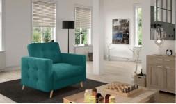 fauteuil scandinave tissu et bois
