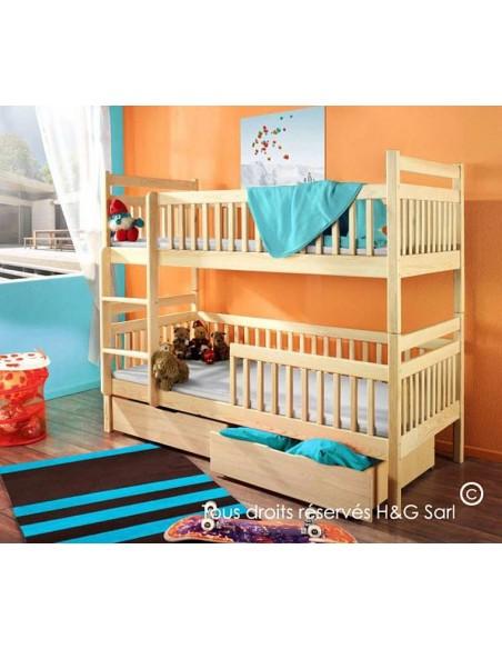 lit enfant superposé séparable 2 couchages avec barrières