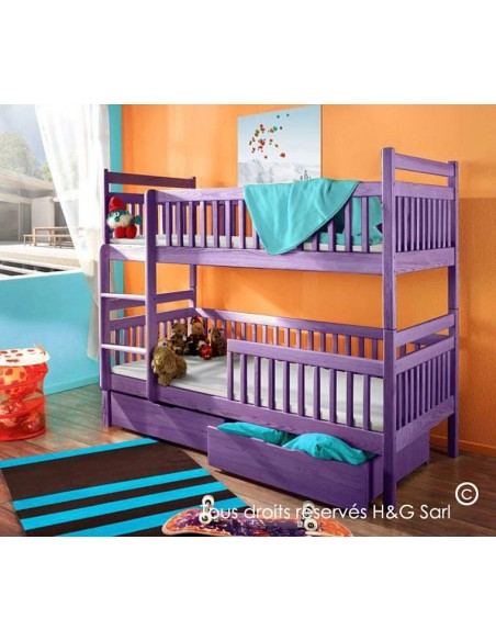 Lit superposé séparable 2 couchages avec barrière