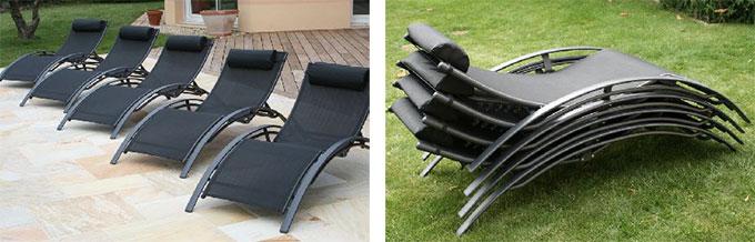 chaise longue noire empilable