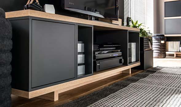 meuble Tv design chêne et bleu style scandinave