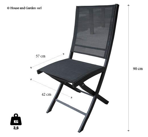 chaise pliante noire en aluminium et textilène
