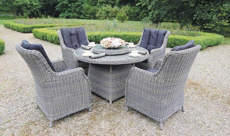 Salon de jardin 4 places en résine tressée grise