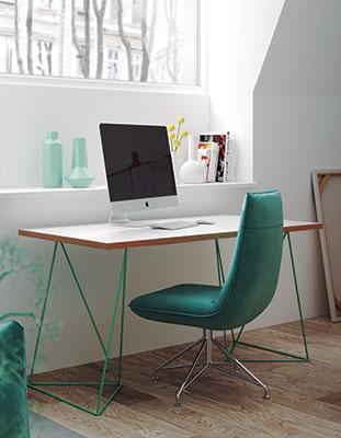 table de bureau design pieds en acier vert