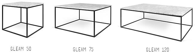 Table basse carrée ou rectangulaire en marbre blanc de carrare