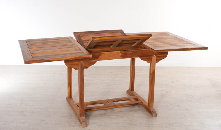 Table de jardin en bois de teck avec rallonge papillon