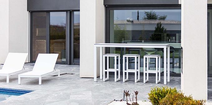 Table bar de jardin blanc design