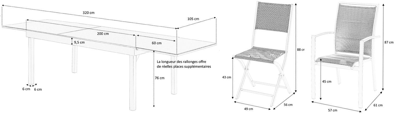 Dimensions salon de jardin 12 places