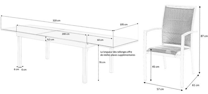 Dimensions table et fauteuils modulo
