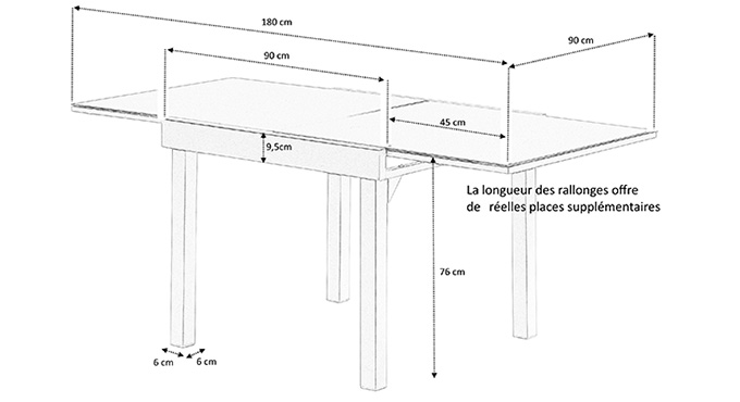 Dimensions table de jardin carrée