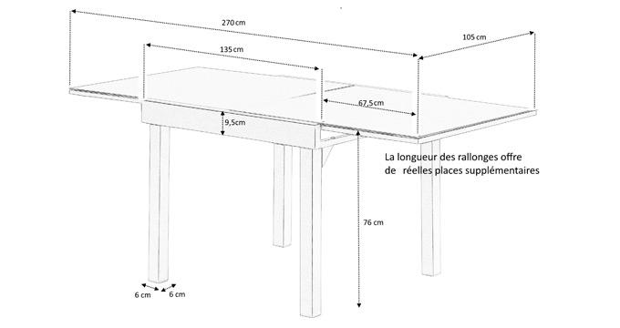Dimensions table jardin rallonge