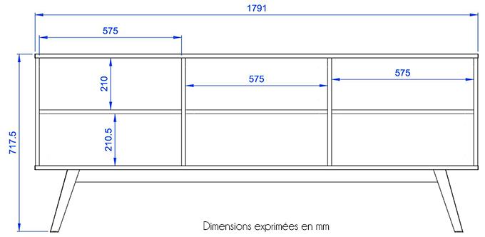 dimensions bibliothèque nature