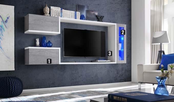 meuble tv mural béton blanc