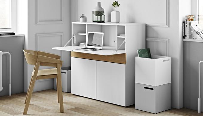 Bureau secrétaire design blanc