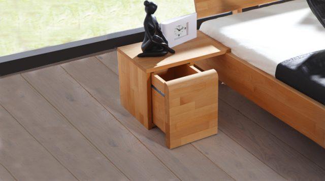 Vente lit design discount en bois massif FUJI
