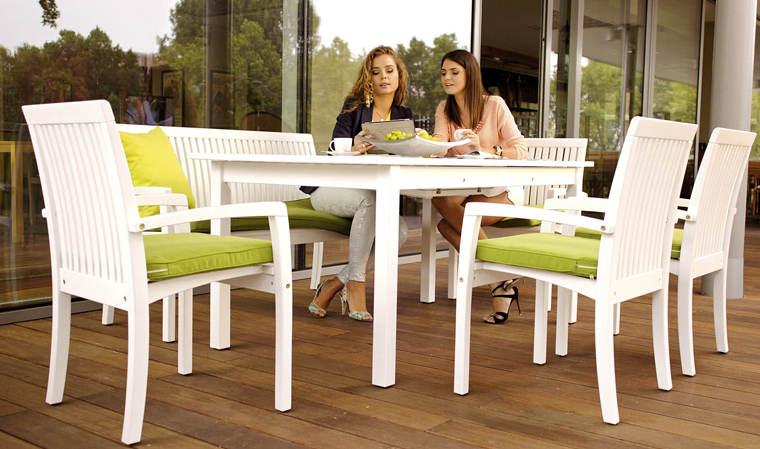 Fauteuil de jardin classique en bois blanc qualité supérieure