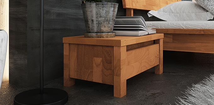 chevet bas design en bois