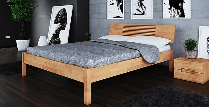 lit design en bois naturel